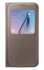 Etui Samsung S View Cover PU Złote do Galaxy S6 EF-CG920PFEGWW