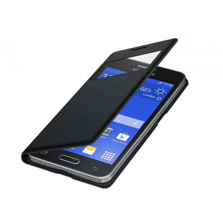 Etui Samsung S View Cover Czarne do Galaxy Core 2 EF-CG355BBEGWW